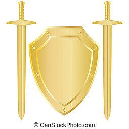 espadas, escudo, dois