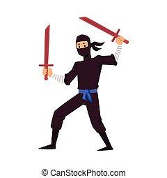 espadas, ilustración, blanco, ninja, fondo., vector