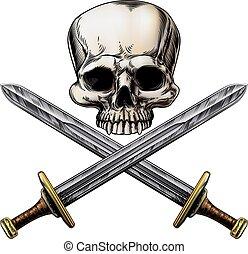 espadas, pirata, cranio, crucifixos