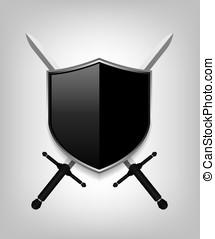 espadas, pretas, escudo