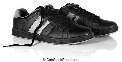 espadrilles, noir, dentelles, nouveau, unfastened, chaussure