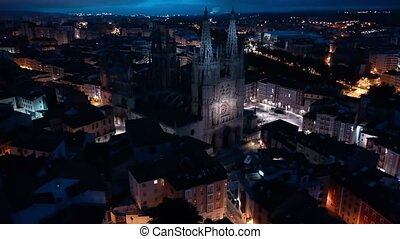 espagne, éclairé, burgos, nuit, bourdon, impressionnant, cathédrale, gothique, fond, cityscape, vue