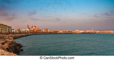 espagne, cadiz, panorama, à, coucher soleil, les, beau, vieille ville, de, andalousie, à, a, vue, de, cathédrale