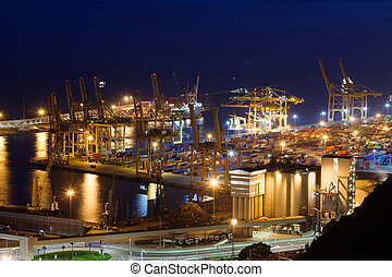 espagne, port, barcelone, nuit