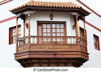 espagnol, balcony., traditionnel, garachico, tenerife, canaris