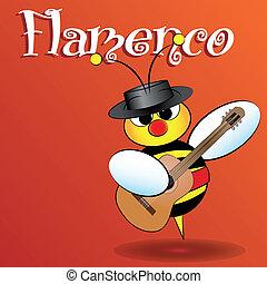 espagnol, gosse, -, illustration, abeille