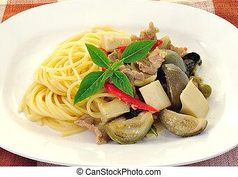 espaguete, com, verde, suina, caril