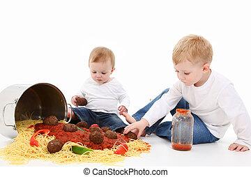 espaguete, crianças