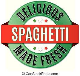 espaguete, emblema, redondo, gostosa
