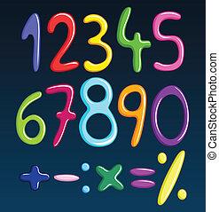 espaguete, números, coloridos