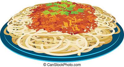 espaguete, prato