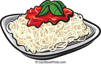 espagueti con la salsa de tomate
