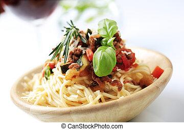 espaguetis, alla, bolognese
