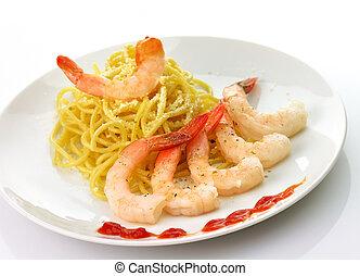 Espaguetis, camarones