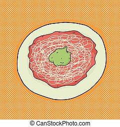 espaguetis, con, aguacate
