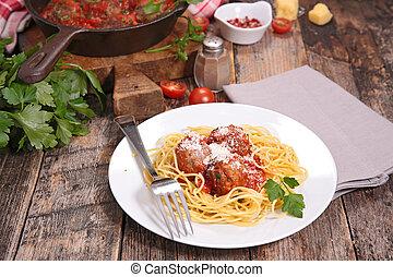 espaguetis, con, albóndiga, y, parmesano