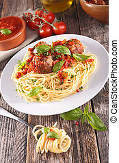 espaguetis, con, albóndiga, y, salsa de tomate