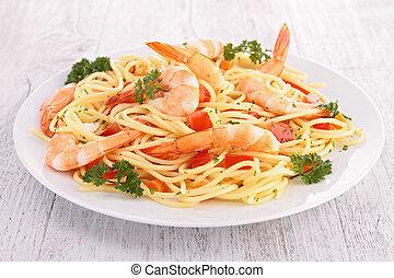 espaguetis, con, camarón