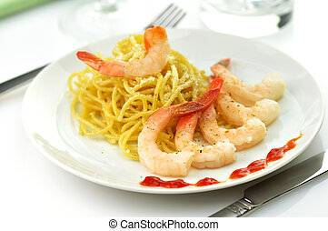espaguetis, con, camarones