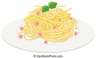 espaguetis, con, salsa crema