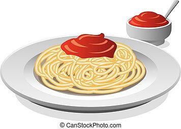 espaguetis, con, salsa