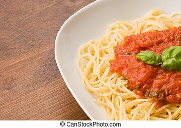 espaguetis, con, toamto, salsa