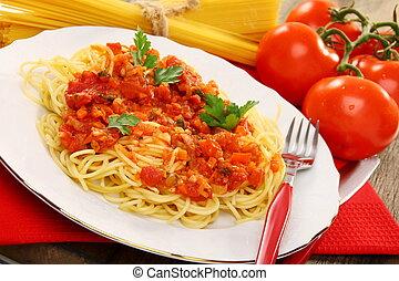 espaguetis, con, tomate, sauce.