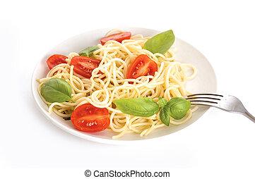 espaguetis, con, tomates