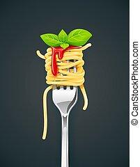 espaguetis, en, tenedor, con, albahaca, y, sauce.