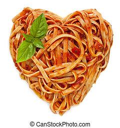 espaguetis, forma corazón, con, albahaca