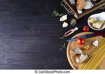 espaguetis, italiano, receta, alimento, ingrediente
