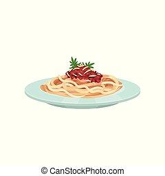 espaguetis, pastas, con, salsa, cocina italiana, vector, ilustración