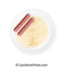 espaguetis, salsa crema, con, embutido