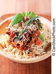 espaguetis, y, ragu, alla, bolognese