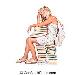 espalda, a, school., cansado, colegiala, sentado, en, un, montón libros