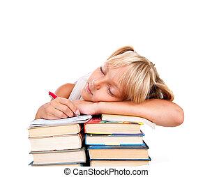 espalda, a, school., cansado, colegiala, sueño, en, un, montón libros