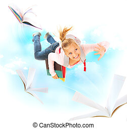 espalda, a, school., colegiala, vuelo, con, ella, libros, y, cuadernos