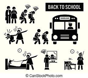 espalda, a, school.