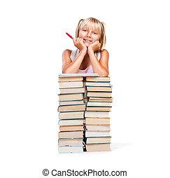 espalda, a, school., sonreír feliz, colegiala, con, pila, de, books., educación, concepto