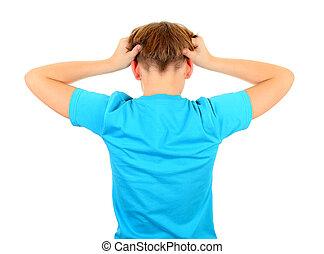 espalda, adolescente, vista