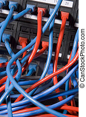 espalda, chaotically, servidor, computadora, tapado, cables