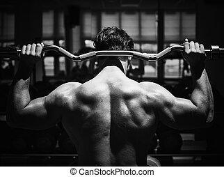 espalda, de, atleta