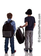 espalda, de, colegial, tenencia, mochila