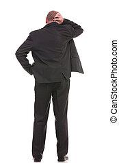 espalda, de, confuso, hombre de negocios
