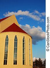 espalda, de, iglesia