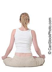 espalda, de, mujer, hacer, yoga, ejercicio