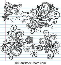espalda, doodles, cuaderno, escuela
