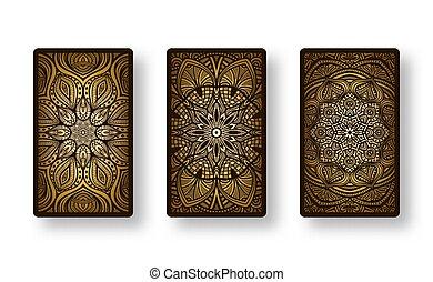 espalda, dorado, floral, lado, tarjetas, colección,...