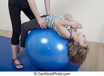 espalda, entrenamiento, con el niño