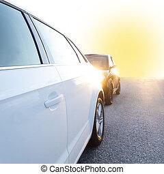 espalda, estacionado, lit, coches